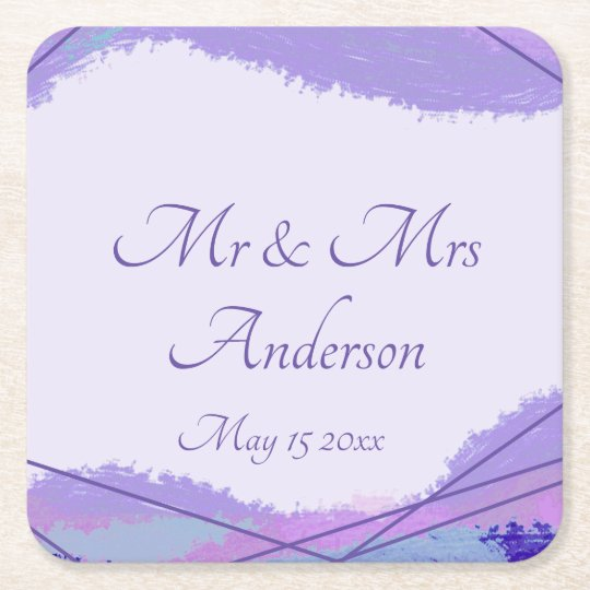 Watercolor and ultraviolet lines, contemporary square paper coaster