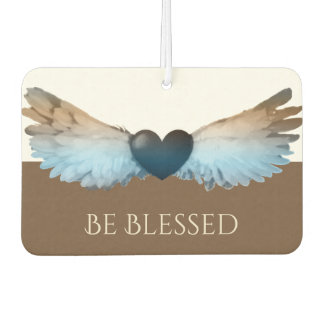 Watercolor Angel Wings & Heart Be Blessed Air Freshener