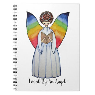 Watercolor Angel With Rainbow Wings Reading A Book