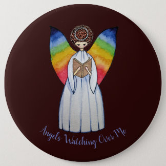 Watercolor Angel With Rainbow Wings Reading A Book 6 Inch Round Button