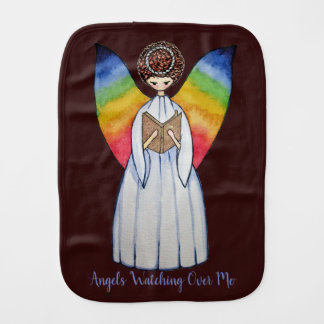 Watercolor Angel With Rainbow Wings Reading A Book Burp Cloth