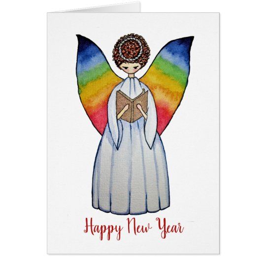 Watercolor Angel With Rainbow Wings Reading A Book Card