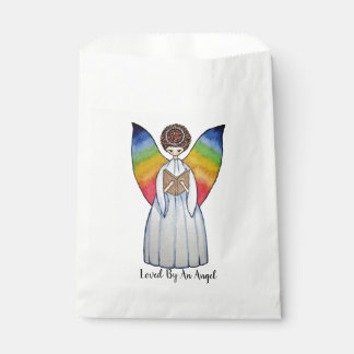 Watercolor Angel With Rainbow Wings Reading A Book Favour Bag