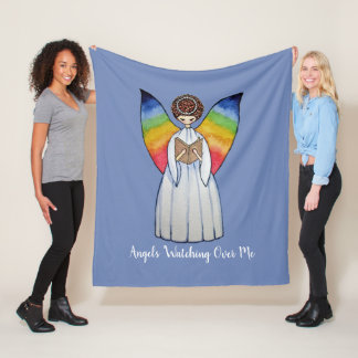 Watercolor Angel With Rainbow Wings Reading A Book Fleece Blanket