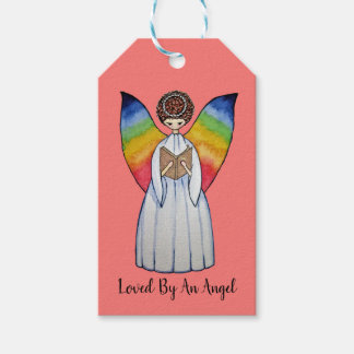Watercolor Angel With Rainbow Wings Reading A Book Gift Tags