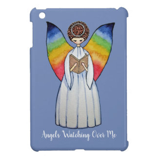 Watercolor Angel With Rainbow Wings Reading A Book iPad Mini Case