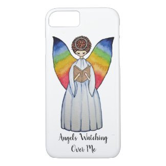 Watercolor Angel With Rainbow Wings Reading A Book iPhone 8/7 Case