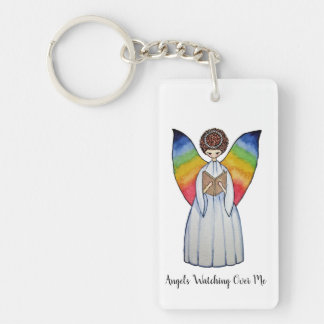 Watercolor Angel With Rainbow Wings Reading A Book Keychain