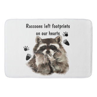 Watercolor Animal with cute saying Raccoons Bath Mat