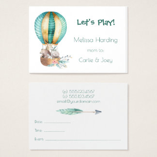 Watercolor Animals Hot Air Balloon Mom Calling Business Card