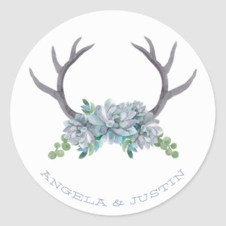 Watercolor Antlers and Echeveria Country Wedding Classic Round Sticker