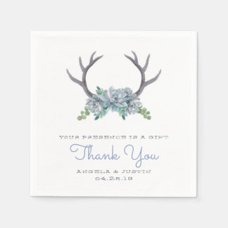 Watercolor Antlers and Echeveria Country Wedding Paper Napkins