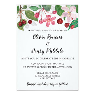 Watercolor apple flowers floral invitation