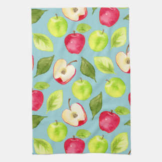 Watercolor Apples Pattern Kitchen Towel