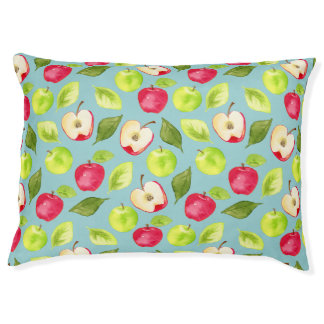 Watercolor Apples Pattern Large Dog Bed