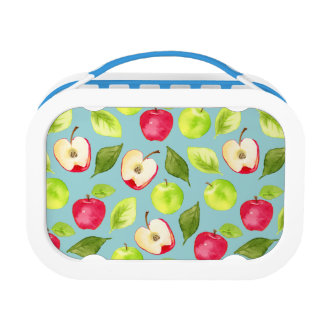 Watercolor Apples Pattern Lunch Boxes