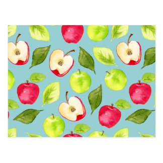 Watercolor Apples Pattern Postcard