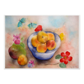 Watercolor apricots by Gemma Orte Designs. Poster