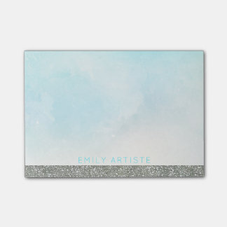 Watercolor Aqua Blue | Personalized Silver Glitter Post-it Notes