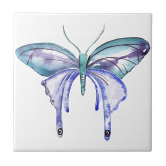 watercolor aqua blue purple butterfly ceramic tiles