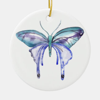 watercolor aqua blue purple butterfly round ceramic ornament