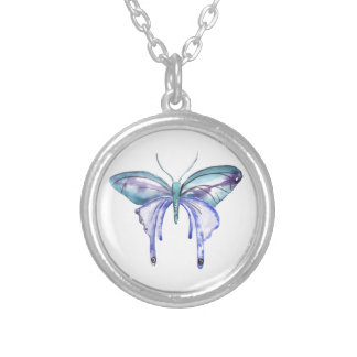 watercolor aqua blue purple butterfly silver plated necklace
