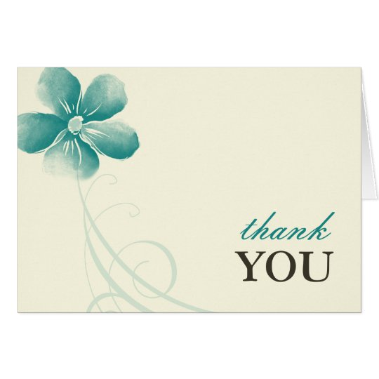 Watercolor Aqua Thank You Note Cards