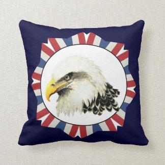 Watercolor Art  Bald Eagle Bird, USA Throw Pillow