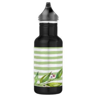 Watercolor Art Bold Green Stripes Floral Design 532 Ml Water Bottle