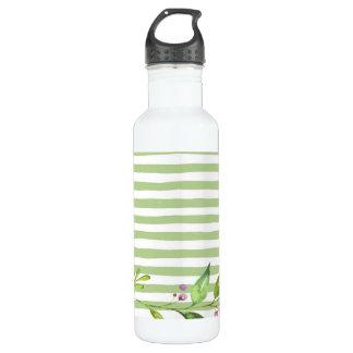 Watercolor Art Bold Green Stripes Floral Design 710 Ml Water Bottle