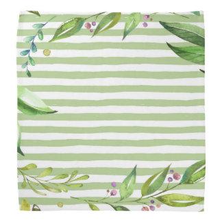Watercolor Art Bold Green Stripes Floral Design Bandana