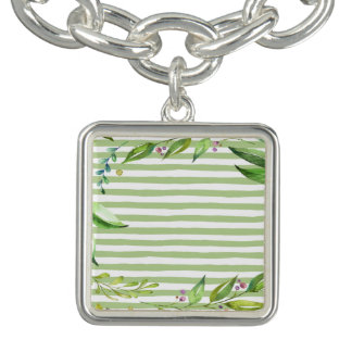Watercolor Art Bold Green Stripes Floral Design Bracelet