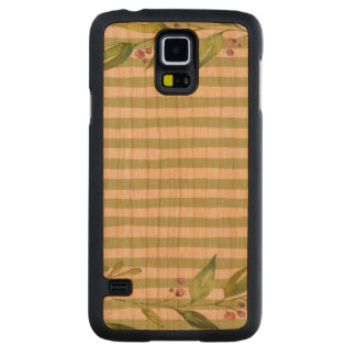 Watercolor Art Bold Green Stripes Floral Design Carved Cherry Galaxy S5 Case