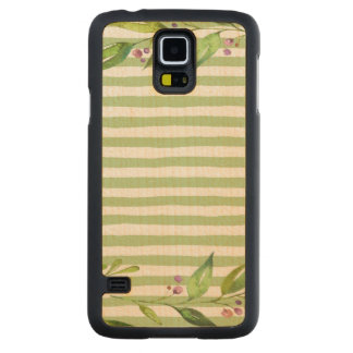 Watercolor Art Bold Green Stripes Floral Design Carved Maple Galaxy S5 Case