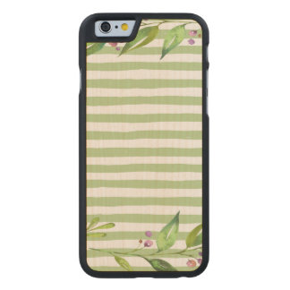 Watercolor Art Bold Green Stripes Floral Design Carved Maple iPhone 6 Case