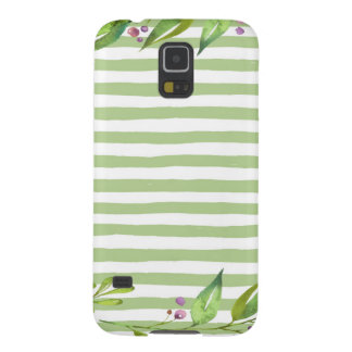 Watercolor Art Bold Green Stripes Floral Design Case For Galaxy S5