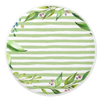 Watercolor Art Bold Green Stripes Floral Design Ceramic Knob