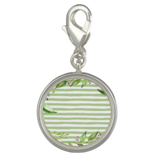 Watercolor Art Bold Green Stripes Floral Design Charm