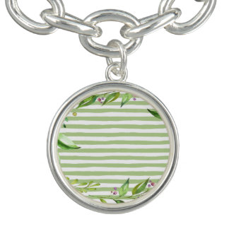 Watercolor Art Bold Green Stripes Floral Design Charm Bracelet