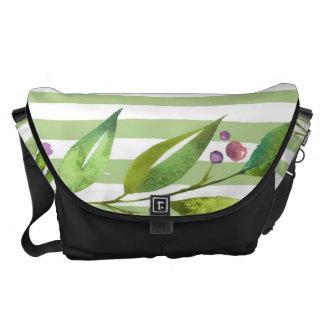 Watercolor Art Bold Green Stripes Floral Design Commuter Bags