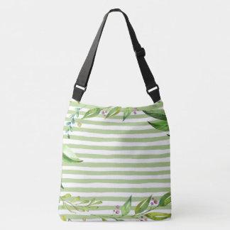 Watercolor Art Bold Green Stripes Floral Design Crossbody Bag