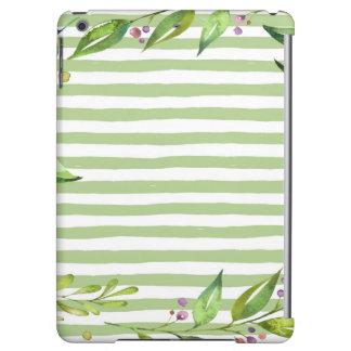 Watercolor Art Bold Green Stripes Floral Design iPad Air Cases