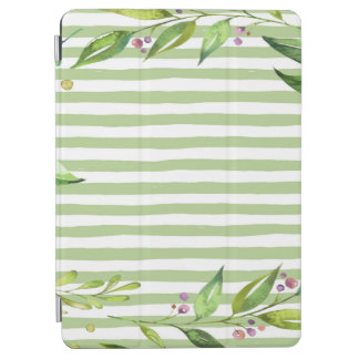 Watercolor Art Bold Green Stripes Floral Design iPad Air Cover
