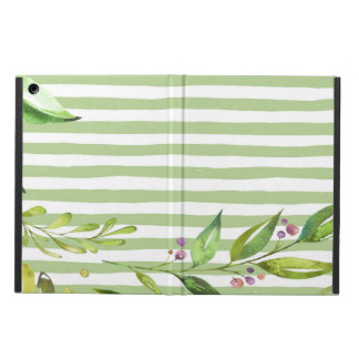 Watercolor Art Bold Green Stripes Floral Design iPad Air Cover