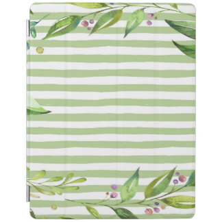 Watercolor Art Bold Green Stripes Floral Design iPad Cover