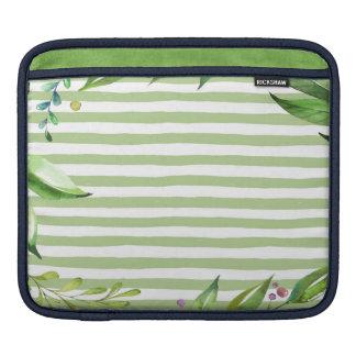 Watercolor Art Bold Green Stripes Floral Design iPad Sleeve