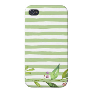 Watercolor Art Bold Green Stripes Floral Design iPhone 4/4S Cases