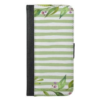 Watercolor Art Bold Green Stripes Floral Design iPhone 6/6s Plus Wallet Case
