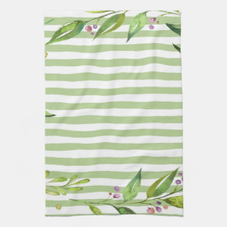 Watercolor Art Bold Green Stripes Floral Design Kitchen Towel
