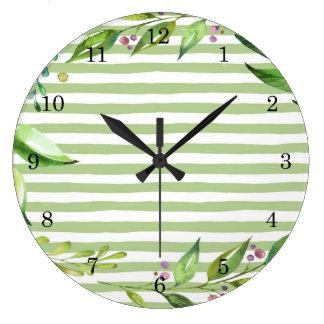 Watercolor Art Bold Green Stripes Floral Design Large Clock